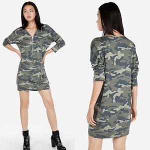 Camo Zip Front Sweatshirt Dress